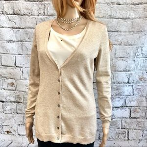 Anne Taylor Gold Glitter Cardigan S